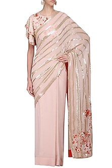 Blush Pink Embroidered Saree with Blouse by Samatvam By Anjali Bhaskar