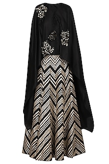 Black Embroidered Lehenga Skirt with Asymmetrical Cape by Samatvam By Anjali Bhaskar