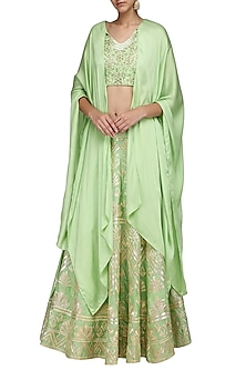 Mint Green Embroidered Lehenga Skirt with Cape Sleeves Blouse by Samatvam By Anjali Bhaskar