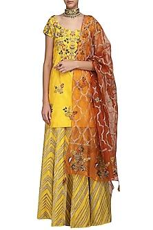 Yellow Embroidered Kurta with Lehenga Skirt Set by Samatvam By Anjali Bhaskar