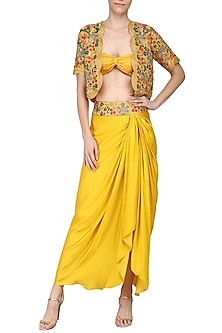 Yellow Embroidered Jacket with Dhoti Skirt And Bustier by Samatvam By Anjali Bhaskar