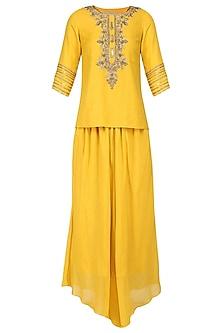 Mustard Yellow Hand Embroidered Tunic with Dhoti Pants by Samatvam by Anjali Bhaskar