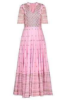 Pink and Green Embroidered Anarkali Set by Samatvam by Anjali Bhaskar