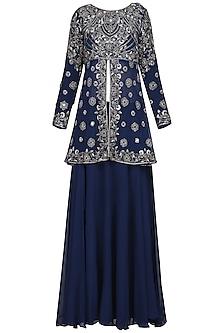 Midnight Blue Embroidered Tunic with Skirt and Dupatta by Samatvam by Anjali Bhaskar