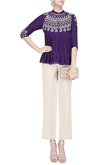 Purple Resham Embroidered High Neck Top with Beige Pants by Samatvam By Anjali Bhaskar