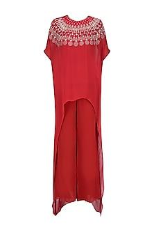 Crimson Red Resham Embroidered High Low Kurta with Red Pants by Samatvam By Anjali Bhaskar