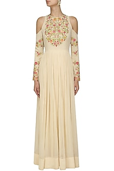 Ivory Floral Embroidered Cold Shoulder Anarkali by Samatvam By Anjali Bhaskar