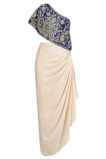 Blue Floral Embroidered One Shoulder Top with Cream Drape Skirt by Samatvam By Anjali Bhaskar