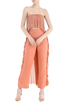 Coral Embroidered Tube Top with Frill Pants by Samatvam By Anjali Bhaskar
