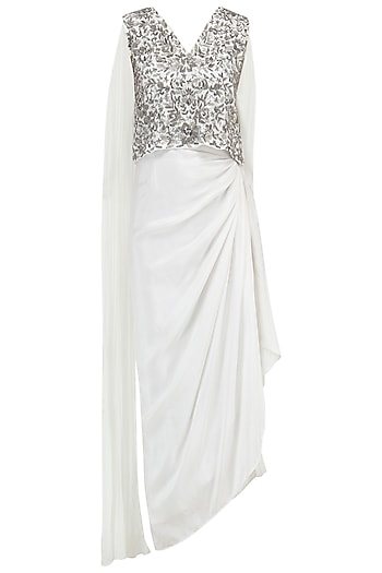 White Embroidered Top with Draped Skirt by Samatvam By Anjali Bhaskar