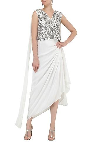 White Embroidered Top with Draped Skirt by Samatvam By Anjali Bhaskar
