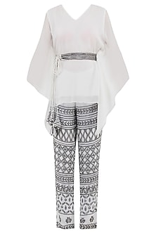 White Kaftan Top with Embroidered Pants and Belt by Samatvam By Anjali Bhaskar