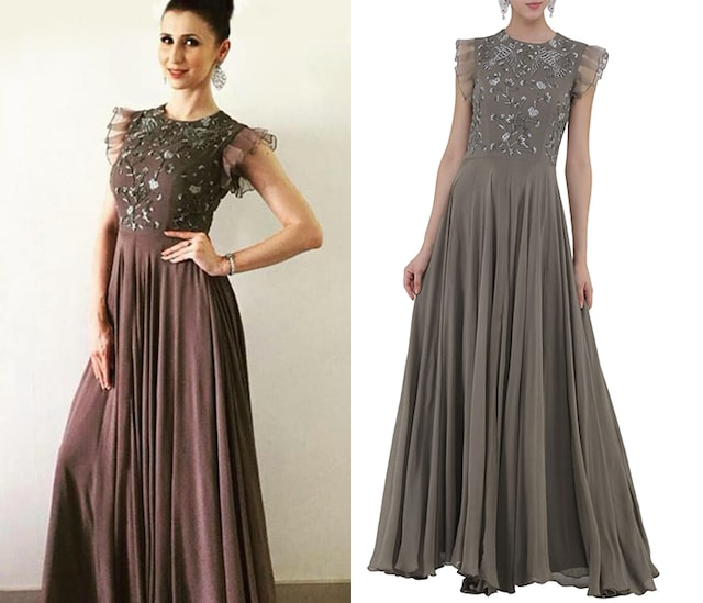 Grey Embroidered Gown by Samatvam By Anjali Bhaskar