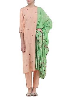Peach and Mint Green Embroidered Kurta Set by Samatvam By Anjali Bhaskar