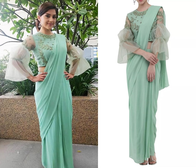 Mint Green Drape Saree with Embroidered Top by Samatvam By Anjali Bhaskar