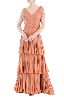 Coral Embroidered Tiered Gown by Samatvam By Anjali Bhaskar