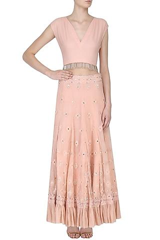 Rose Pink Crop Top and Lucknowi Skirt Set by Samatvam By Anjali Bhaskar