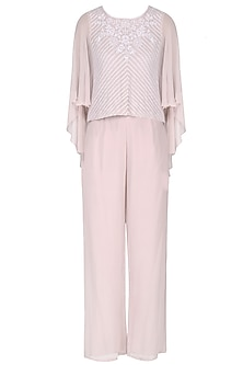 Light Lilac Lucknowi Embroidered Cape and Pants Set by Samatvam By Anjali Bhaskar