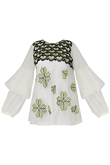Off White Embroidered Sheer Top by Samatvam By Anjali Bhaskar