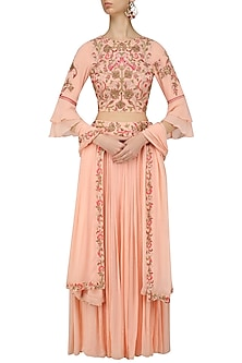 Peach Pink Dabka and Zardozi Embroidered Lehenga Set by Samatvam By Anjali Bhaskar