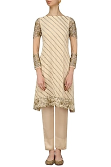 Beige Gold and Silver Embroidered A Line Kurta and Pencil Pants Set by Samatvam By Anjali Bhaskar