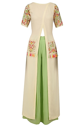 Cream Floral Embroidered Front Open Kurta with Green Pants by Samatvam By Anjali Bhaskar