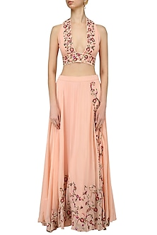 Peach and Pink Floral Embroidered Bralet and Skirt Set by Samatvam By Anjali Bhaskar