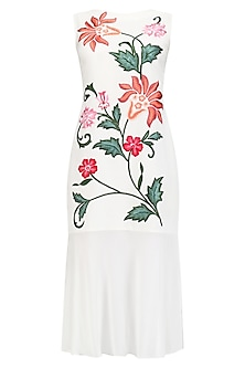 White Floral Embroidered Drop Waist Dress by Samatvam By Anjali Bhaskar