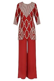 Crimson Red Gota Patti Embroidered Kurta and Pants Set by Samatvam By Anjali Bhaskar