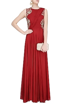 Crimson Red Floral Embroidered Drape Gown by Samatvam By Anjali Bhaskar
