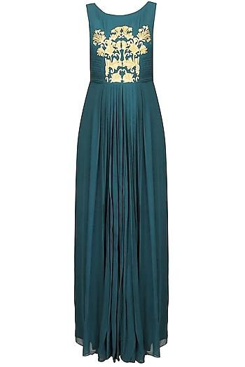 Teal Green and Gold Thread Embroidered Floor Length Gown by Samatvam By Anjali Bhaskar