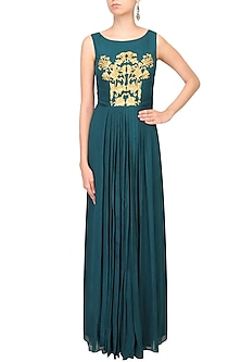 Teal Green and Gold Thread Embroidered Floor Length Gown by Samatvam By Anjali Bhaskar