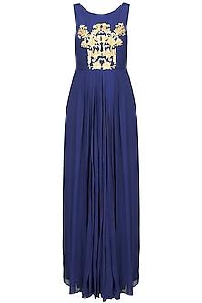 Navy Blue and Gold Thread Embroidered Floor Length Gown by Samatvam By Anjali Bhaskar