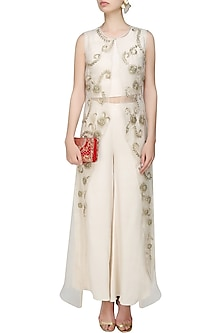Cream and Gold Floral Embroidered Crop Top, Pants and Cape Set by Samatvam By Anjali Bhaskar