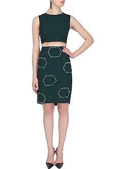Teal Green Sequins and Beads Embellished Crop Top and Skirt Set by Samatvam By Anjali Bhaskar