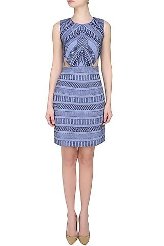 Blue Thread Embroidered Cut Out Dress by Samatvam By Anjali Bhaskar