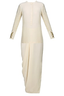 Cream and Gold Embroidered Tunic with Dhoti Skirt by Samatvam By Anjali Bhaskar