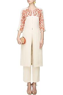 Cream and Orange Embroidered Front Open Kurta with Pants by Samatvam By Anjali Bhaskar
