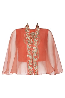 Orange Embroidered Crop Top with Sheer Embroidered Cape by Samatvam By Anjali Bhaskar