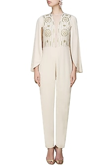 Cream and Gold Embroidred Jumpsuit with Cape Sleeves by Samatvam By Anjali Bhaskar