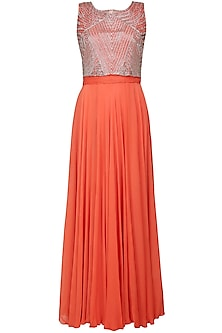 Orange Gown with An Embellished Crop Top by Samatvam By Anjali Bhaskar
