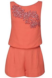 Orange Embellished Top and Shorts by Samatvam By Anjali Bhaskar