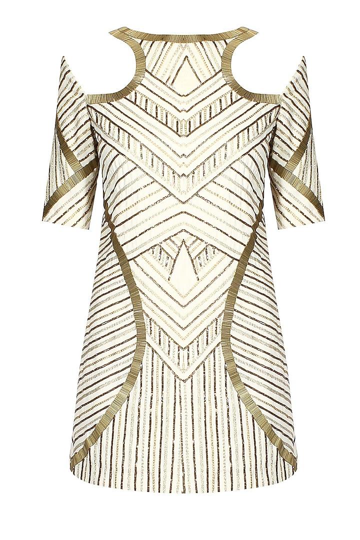 Creme and Gold Embellished Cut Out Shoulder Dress by Samatvam By Anjali Bhaskar