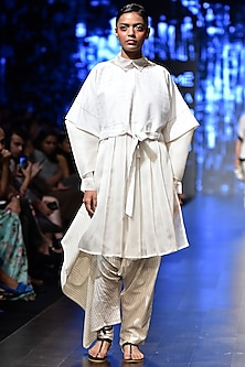 Off White Sheer Shirt Dress by Sayantan Sarkar