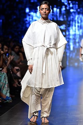 Off White Striped Zohap Style Dhoti Pants by Sayantan Sarkar