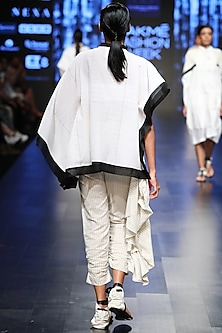Off White Asymmetric Kaftan Top by Sayantan Sarkar