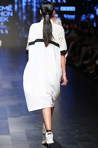 Off White Baggy Striped Dress by Sayantan Sarkar