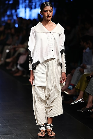 Off White Striped Baggy Trouser Pants by Sayantan Sarkar