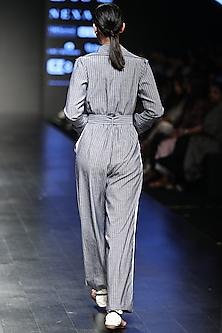 Grey Striped Boxy Jumpsuit by Sayantan Sarkar