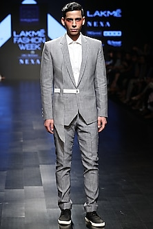 Grey Striped Fitted Trouser Pants by Sayantan Sarkar Men